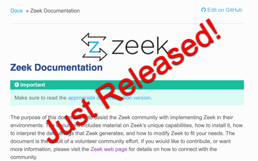 Just Released – New and Improved Zeek Documentation